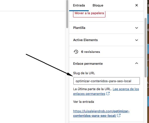 Editar enlace permanente en WordPress